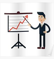 Businessman Behind Stand with Chart Poster