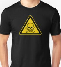 Poison Symbol Warning Sign - Yellow & Black - Triangular T-Shirt