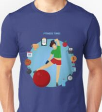 Fitness Time. Girl with set of Fitness Icons T-Shirt