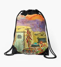Painted Pottery and Chili Ristras Drawstring Bag
