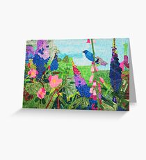Summer Garden With Bluebird Detailed Ink Drawing Greeting Card