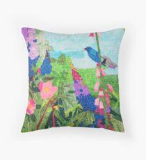 Summer Garden With Bluebird Detailed Ink Drawing Throw Pillow