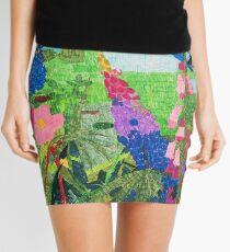 Summer Garden With Bluebird Detailed Ink Drawing Mini Skirt