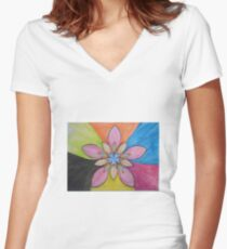 psychedelic flower Women's Fitted V-Neck T-Shirt