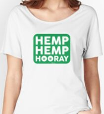 Hemp Hemp Hooray White Green Women's Relaxed Fit T-Shirt