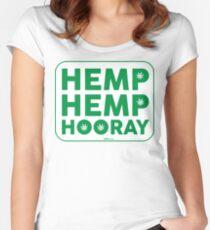 Hemp Hemp Hooray Green White Women's Fitted Scoop T-Shirt