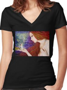 """""""Hope is the Waking Dream"""" Women's Fitted V-Neck T-Shirt"""
