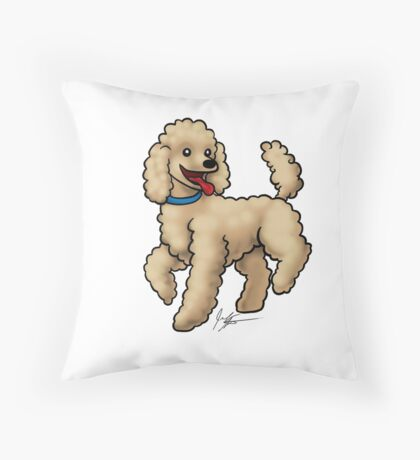 Poodle Brown Throw Pillow