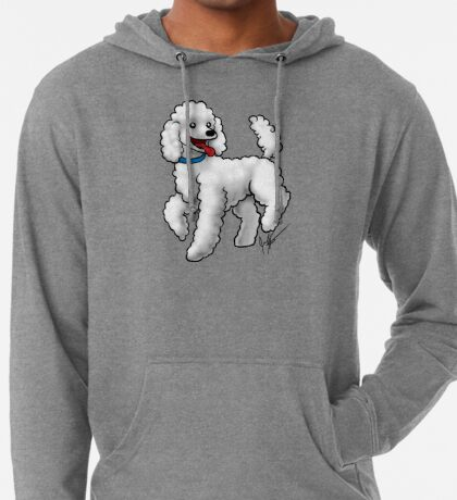 Poodle - White Lightweight Hoodie