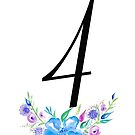 Number 4 with Watercolour Flowers by BbArtworx