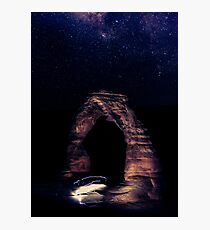 Blue Night Sky Stars - Delicate Arch Arches National Park Utah Photographic Print