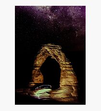 Night Sky Stars - Delicate Arch at Arches National Park Utah Photographic Print
