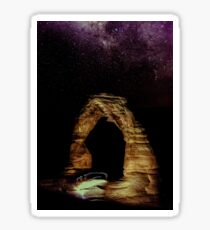 Night Sky Stars - Delicate Arch at Arches National Park Utah Sticker