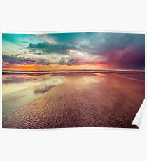 Ocean Sea Beach Water Clouds at Sunset - Hwy 101 Pacific Coast Highway Poster