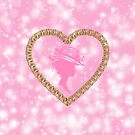 Golden Victorian Heart Lady with Hat Pink Bokeh by moondreamsmusic