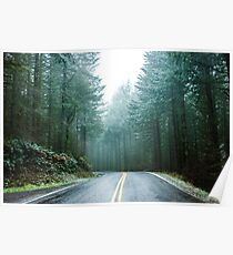 Forest Road Trip - Foggy Day Fir Trees Pacific Northwest Adventure Poster
