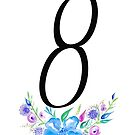 Number 8 with Watercolour Flowers by BbArtworx