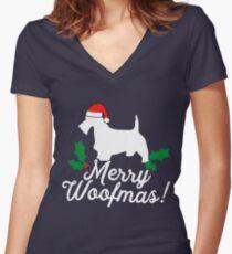 Scottish Terrier Christmas Women's Fitted V-Neck T-Shirt