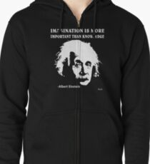 Sudadera con capucha y cremallera Rule Albert Einstein T-Shirt Imagination Is More Important Than Knowledge
