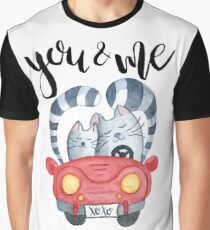 Watercolor cats in just married red car Graphic T-Shirt