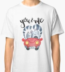 Watercolor cats in just married red car Classic T-Shirt