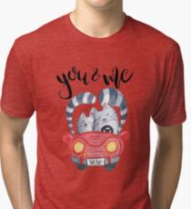 Watercolor cats in just married red car Tri-blend T-Shirt