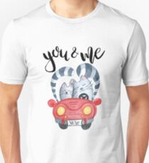 Watercolor cats in just married red car Unisex T-Shirt