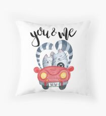 Watercolor cats in just married red car Throw Pillow