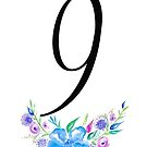 Number 9 with Watercolour Flowers by BbArtworx