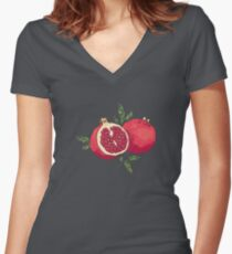 Juicy pomegranate fruits Women's Fitted V-Neck T-Shirt