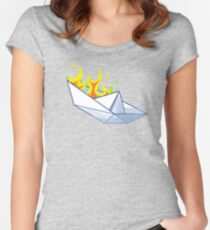 Origami Paperboat Fail Women's Fitted Scoop T-Shirt