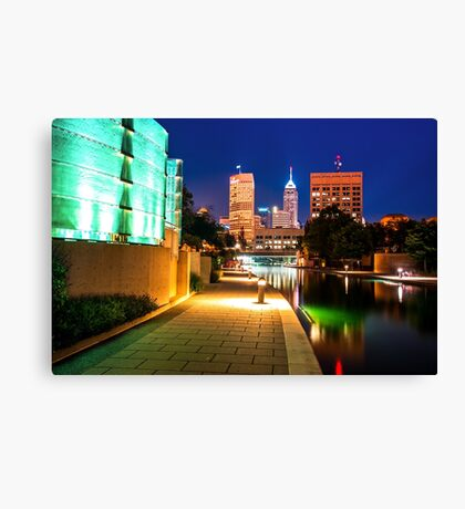 Skyline of Indianapolis Indiana from the Canal Walk Canvas Print