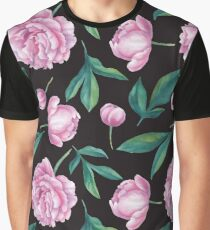 Seamless watercolor peony pattern   Graphic T-Shirt
