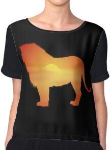African Lion Design Chiffon Top