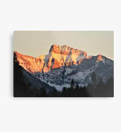 Golden Mountain Top Metal Print