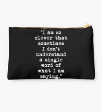 Oscar Wilde Cleverness White Studio Pouch
