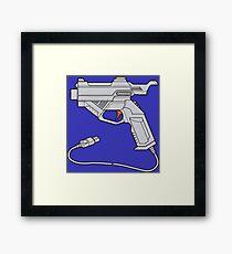 Dreamcast Light Gun (On Blue) Framed Print