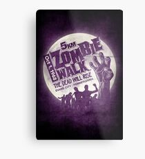 Zombie Walk - White Metal Print