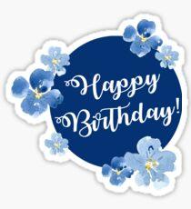 Little Blue Flowers ~ Happy Birthday Sticker