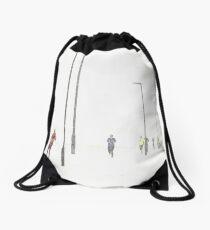 Running in the snow Drawstring Bag