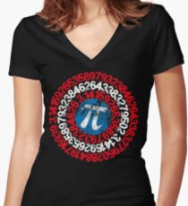Captain Pi Funny Pi Day 2017 Superhero Style for Math Geeks and Nerds Women's Fitted V-Neck T-Shirt