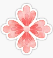 Coral Pink Flowers Ribbon Spring Salmon Colored Floral Art Sticker