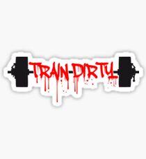 tropfen graffiti blut gewichtheben hantel gewichte trainieren design eat clean train dirty text logo  Sticker