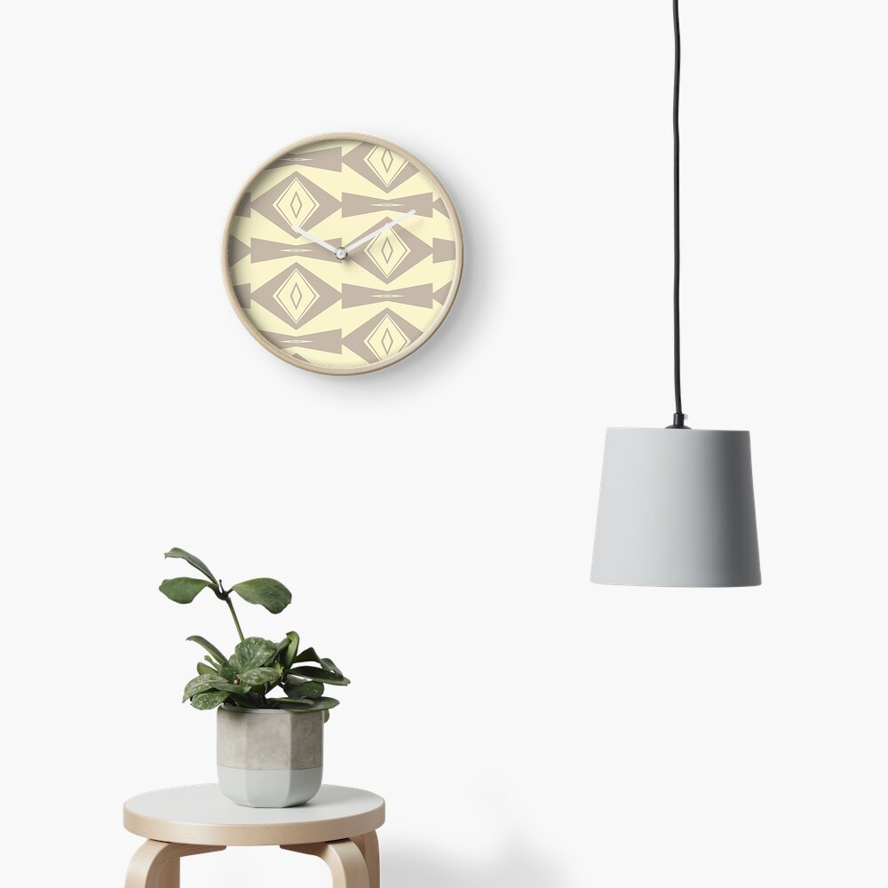 Gray and Cream V Shaped by Julie Everhart Clock