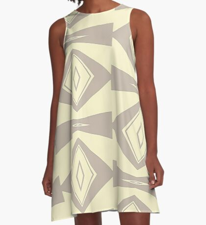 Gray and Cream V Shaped by Julie Everhart A-Line Dress