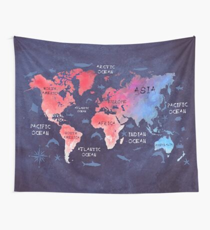 world map 44 Wall Tapestry