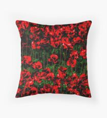 Poppy fields of remembrance for WW1 at Tower of London Throw Pillow