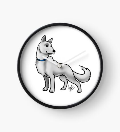 German Shepherd White Clock