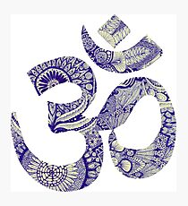 Om Blue Pattern Photographic Print