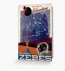 Metroid Travels to Planet Zebes Greeting Card